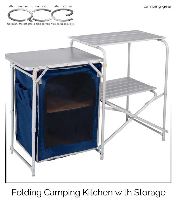 best service 4a38b 0b7e3 Details about Camp Kitchen - Folding Aluminium/Steel Framed Larder Unit &  Preparation Table