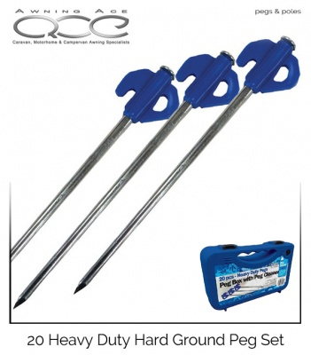 20x Heavy Duty Hard Ground Peg Set
