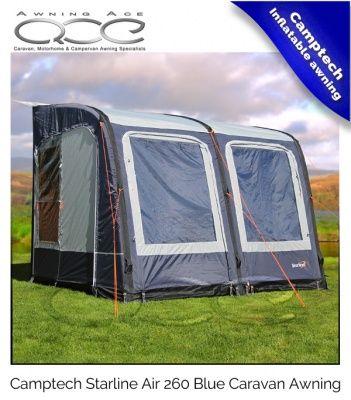 Camptech Starline 260 Air Inflatable Blue Caravan Porch Awning - Ex-Demo