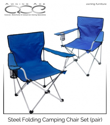 2x Steel Folding Camping Chair Set