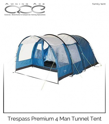 Trespass Go Further Premium 4 Man Family Tunnel Tent