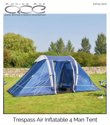 Wow Trespass Air 4 Man 2 Room Inflatable Tent (One inner)