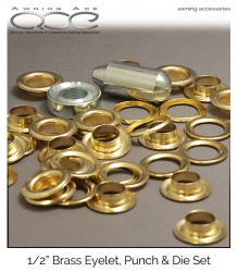 Brass Eyelet Kit Incl. Punch, Die and 15x Rings 1/2'' (12.7mm)