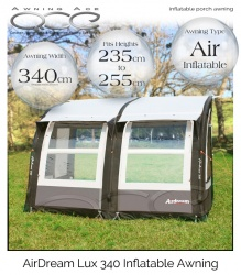 Camptech Airdream Lux 340 Heavy Duty Inflatable Caravan Air Awning