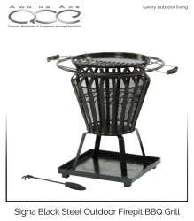 Signa Black Steel Fire Pit Party Grill