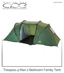 Trespass 4 Man 2 Bedroom large Family Tent