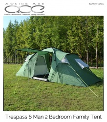 Trespass 6 Man 2 Bedroom Easy Pitch Tent
