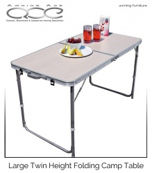 Large Folding Aluminium Camping Table Twin Height